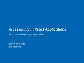 Thumbnail of the React and Accessibility talk